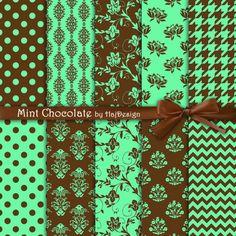MINT CHOCOLATE - Digital Paper Scrapbook Paper Digital Paper Pack Digital Collage Sheet 10 Papers