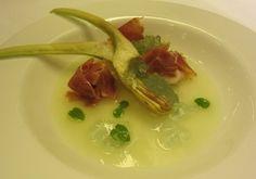 Vissani: zuppetta fredda di melone con prosciutto e carciofi