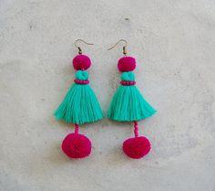 Double Pom Pom Mint Green Tassel Earrings