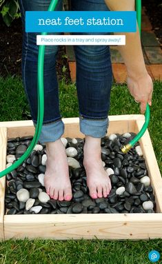 Keep the mess outside! After a long day of gardening or cleaning around the house, clean your feet with this DIY spray station using items from around your house like rocks and an old tray. For convenience, place near the hose.