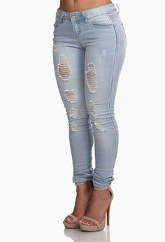 Cute White Denim Ripped Skinny Jeans | Stuff I want | Pinterest ...