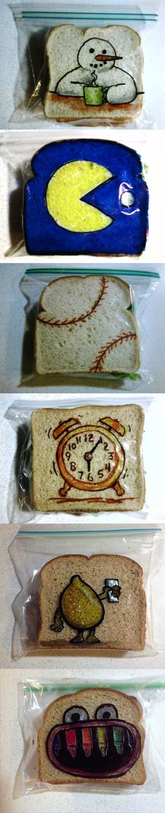 Love this! A dad has drawn a different picture on his kids' lunch bags every day since 2008!