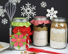 This Cookie Mix in a Jar craft is the perfect easy homemade Christmas gift idea. Personalize the outside of the mason jar with fun designs and sequined stickers.