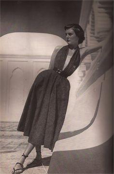 Banker's Gray Denim by Brigance  Bazaar May 1949  Louise Dahl-Wolfe
