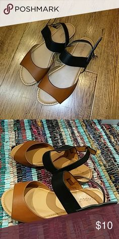 Flat sandals Tan x Black, Manmade Bamboo Shoes Sandals