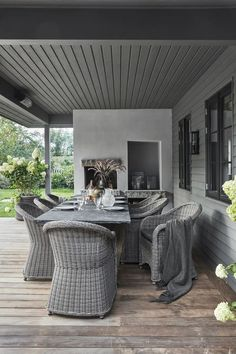 Cozy terrace in Danish summerhouse in New England style New England Style, Outdoor Furniture Sets, Outdoor Decor, Studios, Cozy, Modern, Inspiration, Design, Home Decor