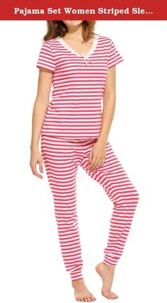 Pajama Set Women Striped Sleepwear Short Sleeve Tops and Elastic Waist Pants (US: S, Pink). Material: 95% Cotton and 5% Spandex, soft and comfy. Two-piece sleep pajama sets featuring short sleeve top, elastic waist long pants. T-shirt features lace trim v-neck with bow decoration, short sleeve. Pants: Elastic waist, slim leg opening, full length. Opportunity: Sleepwear, Nightwear.