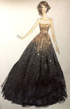 Fashion Drawing I love this!i want it for prom! gold and black ball gown; Vestidos Marchesa, Marchesa Gowns, Fashion Illustration Sketches, Fashion Design Sketches, Fashion Drawings, Fashion Designers, Dress Illustration, Fashion Sketchbook, Manga Illustrations