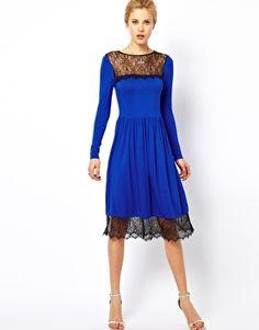 Enlarge ASOS Skater Dress With Lace Trim Hem