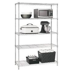 "$59.99 Adjustable 5-Tier Wire Wide Shelving Unit - Chrome - Room Essentials™ : Target | 72"" H x 47.625"" W x 18"" D"