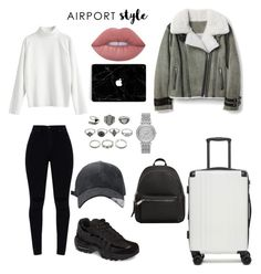 """""""No 145"""" by bedriyee on Polyvore featuring Mode, CalPak, NIKE, MANGO, Lime Crime, Michael Kors und airportstyle"""