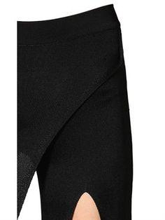 balmain - women - pants - flared wrap effect viscose knit pants
