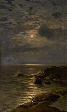 View Moonlight by Eugen Taube on artnet. Browse upcoming and past auction lots by Eugen Taube. Aesthetic Painting, Aesthetic Art, Arte Peculiar, Moonlight Painting, Scenery Wallpaper, Classical Art, Renaissance Art, Pretty Art, Dark Art