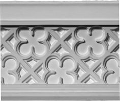 Crown Molding featuring a quatrefoil clover-like pattern Panel Moulding, Moldings And Trim, Crown Molding, Gothic Chair, Modern Tv Room, Plaster Mouldings, Gothic Interior, Interior Design, Dark Ceiling
