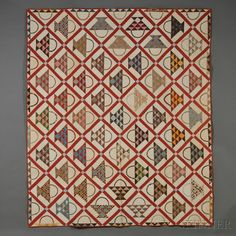 Pieced and Appliqued Cotton Cherry Baskets Pattern Quilt, America, late 19th century