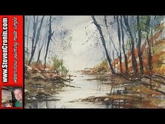 How To Paint a Simple River Scene with Reflections in Watercolour - YouTube