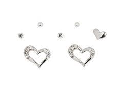 Stretched heart earring set for multiple pierced ears _ yourbasicjewelry.com Heart Earrings, Ear Piercings, Earring Set, Heart Ring, Ears, Stuff To Buy, Collection, Jewelry, Jewlery