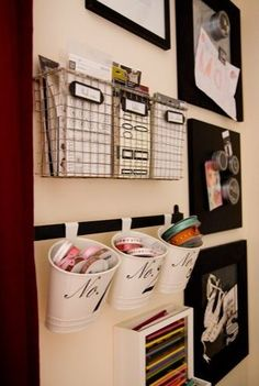 wire baskets to organize office area