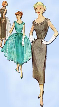 1950s Vintage Misses Cocktail Dress 1953 McCalls Sewing Pattern 9434 Size 12