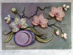 Картина панно рисунок Квиллинг И снова орхидеи Бумажные полосы фото 1