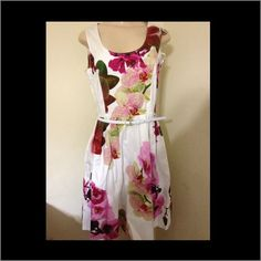 SALE! Dana Buchman NWT dress Dana Buchman NWT white dress with belt and gorgeous color flowers.   Perfect for a baby shower or Sunday brunch. Dana Buchman Dresses