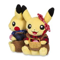 Official Paired Pikachu Celebrations Berry Farmer plush, with real corduroy fabric and a Berry for each Pikachu. Pokémon Center Original design.
