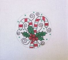 18 or 13 Count Mesh Candy Canes w/Holly & Curls Handpainted Needlepoint Canvas #Handmade