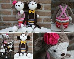 Monkey pattern in Dutch for euro Crochet Amigurumi, Amigurumi Toys, Amigurumi Patterns, Softies, Crochet Toys, Crochet Patterns, Plushies, Crochet Ideas, Monkey Pattern