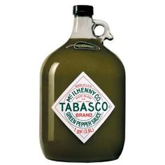 TABASCO brand Green Jalapeno Pepper Sauce - Gallon #hotsauce #spicy #hot         A three-pepper blend      Contains cayenne, a small amount of oak-aged tabasco pepper and mellow red jalapeno      Splash it on pizza, pasta and all things Italian