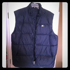 Men's starter vest Dark blue men's starter vest. Worn a couple time but been hanging in closest since. Size XL 46/48 Starter Jackets & Coats Vests