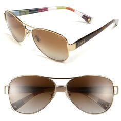 COACH Polarized Metal Sunglasses ❤ liked on Polyvore