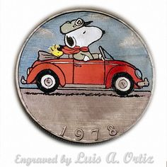 Snoopy's New Ride Ike Hobo Nickel Engraved & Colored by Luis A Ortiz Hobo Nickel, Challenge Coins, Vw, Hand Carved, Snoopy, Carving, Ebay, Color, Things To Sell
