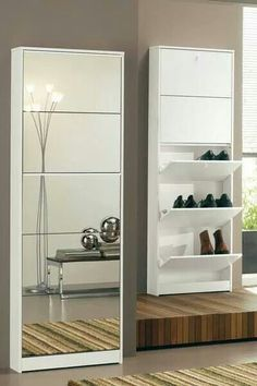 Shoe cabinet with mirror for more shine in the apartment Closet Shoe Storage, Shoe Storage Cabinet, Closet Shelves, Shoe Storage Mirror, Shoe Racks, Space Saving Furniture, Home Furniture, Furniture Design, Shoe Cabinet Design
