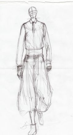 The process - first sketch of male model to get proportions etc right before doing the refined drawings. From fashion illustration course at Istituto Marangoni | Christina Voss