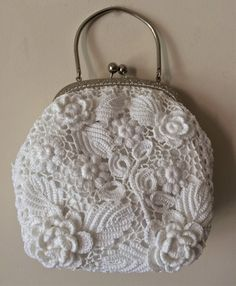 Irish Crochet clutch. Unique design. Vintage wedding bag. Size 20 x20 cm Feel free to contact to make a tailor made item specially for you.