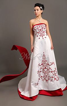 280 Red And White Wedding Dress With Accents