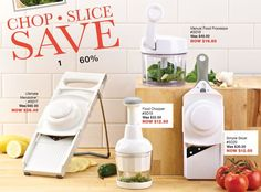Get 60% off the Manual Food Processor, Simple Slicer, Food Chopper, or Ultimate Mandoline when you host a show in March! #PamperedChef