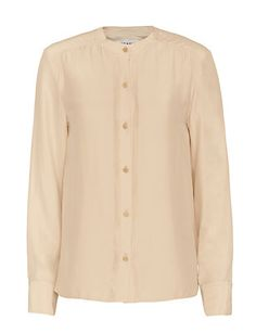 FRAME Gold-Button Detail Pleated Blouse