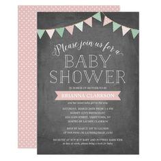 Convite do chá de fraldas do rosa | das bandeiras Paper Owls, Chalkboard Quotes, Rsvp, Art Quotes, Baby Shower, Bird, Diaper Invitations, Flags, Colors
