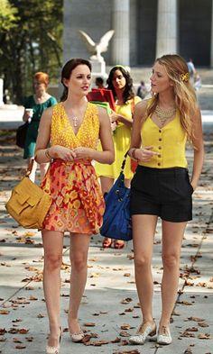 "'Gossip Girl,' Season 4, Episode 5: ""Goodbye Columbia""  BLAIR WALDORF (LEIGHTON MEESTER)  + Necklace: Tiffany & Co.  + Dress: Nanette Lepore  + Bag: Nancy Gonzalez  + Shoes: Mechante of London  SERENA VAN DER WOODSEN (BLAKE LIVELY)  + Vest: Madison Marcus  + Necklace: Fallon  + Shorts: Dolce & Gabbana  + Bag: Mulberry  + Shoes: Maloles"