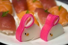 This is the Japanese fishcake - Kamaboko, thick sliced with the decorative red surface cut and tucked under.    by AnnaTheRed, via Flickr