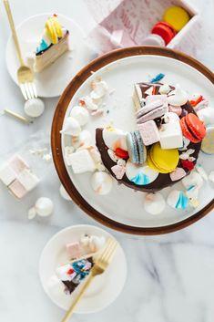 vanilla bean cake macarons marshmallows meringues fork to belly