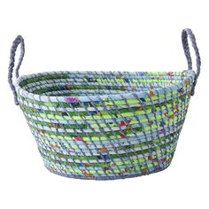 Large Storage Basket with Mixed Mint/Green/Blue Fabric
