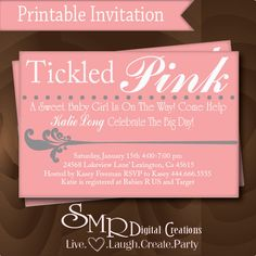 Invite wording - Girl Baby Shower Invitation - Tickled Pink -  Girl baby shower invite via Etsy