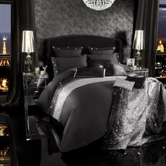 New Kylie Minogue at Home bedding | Mezzano Bedding | Stunning Black and Silver sequins on a soft black Polycotton.