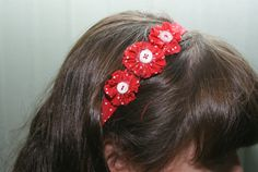 Red and White Polka Dot Elastic Headband with by FrankiesHairFlair, £5.49