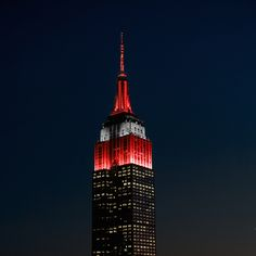 January 12, 2015: The Empire State Building's lights turn scarlet and grey for the Ohio State University (@gobucksosu) at the conclusion of the inaugural College Football Playoff National Championship game.