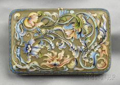 Art Nouveau Silver-gilt and Enamel Box, Russia, with polychrome enamel floral and foliate motifs, approx. 7.8 troy oz., 4 3/8 x 2 7/8 in., hallmarks.