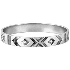 House of Harlow 1960 Symbols and Signs Bangle ($68) ❤ liked on Polyvore featuring jewelry, bracelets, accessories, silver, tribal jewelry, tribal bracelet, house of harlow 1960, engraved jewelry and bangle jewelry