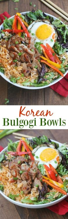 Korean Bulgogi Bowls are packed with flavor and absolutely delicious! Simple marinated pork served over kimchi fried rice with leafy greens and a fried egg on top. This dish is better than take-out, and easy to make from home! | Tastes Better From Scratch